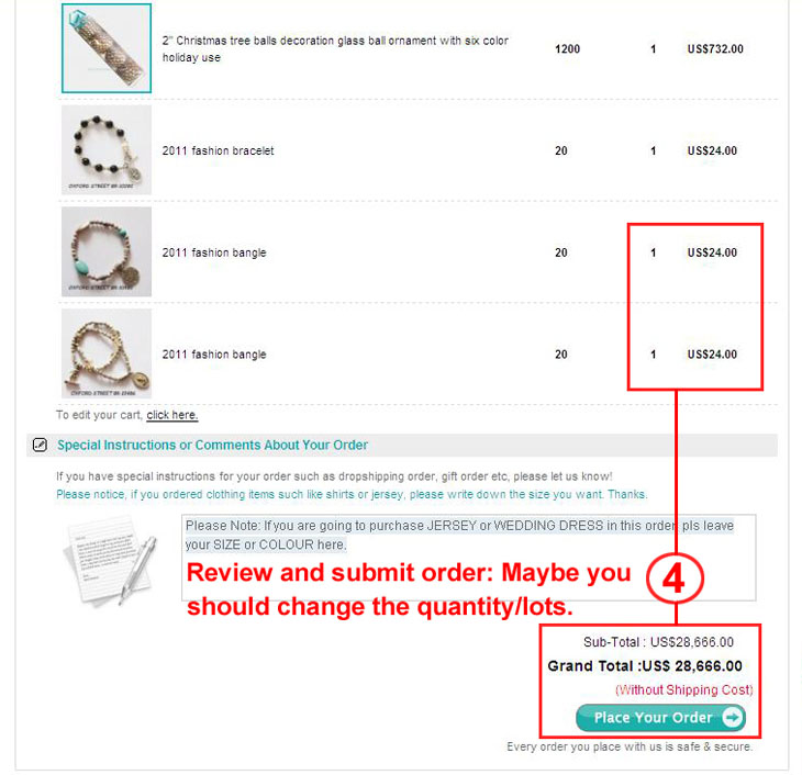 Review and submit order